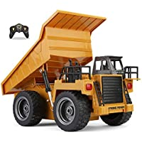 Top Race 6 Channel Full Functional Dump Truck, RC Remote Control Construction Dump Truck Tractor with Lights & Sounds 2.4Ghz (TR-112G)