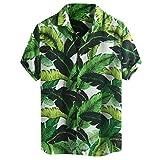 Eoeth Big Sale!Men Hawaiian Beach Printed Turn Button Down Collar Short Sleeve Loose Shirt Lightweight Baggy Casual Tee Green