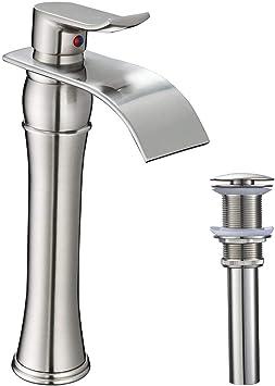 Brushed Nickel Single Handle Bathroom Sink Faucet Vessel Tall Body Waterfall Tap
