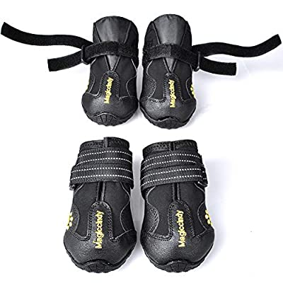 WUXIAN Waterproof Dog Shoes,Dog Outdoor Shoes, Running Shoes for Dogs,Pet Rain Boots, Labrador Husky Shoes for Medium to Large Dogs,Rugged Anti-Slip Sole and Skid-Proof- 4Pcs (4#?2.56''X1.97''?) by WUXIAN