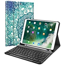 "Fintie Keyboard Case with Built-in Apple Pencil Holder for iPad Air 2019 3rd Gen/iPad Pro 10.5"" 2017- SlimShell Stand Cover w/Magnetically Detachable Wireless Bluetooth Keyboard, Emerald Illusions"