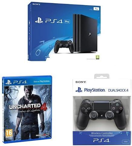 PlayStation 4 Pro (PS4) - Consola de 1 TB + Uncharted 4: El Desenlace Del Ladrón + Sony - DualShock 4 Negro V2 (PS4): Amazon.es: Videojuegos