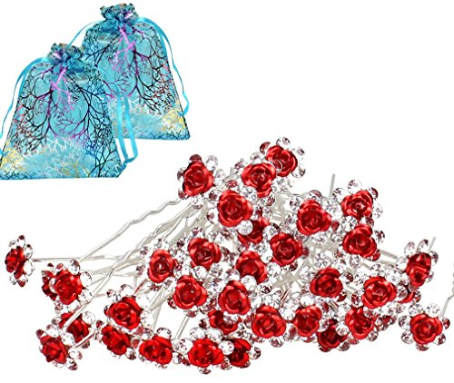 40pcs Bridal Wedding Crystall Hair Pins Red Rose Hair Pin with 2 Jewelry Bags Red Rose U-shaped Design Collection Crystal Hair Pins Clips (Red)