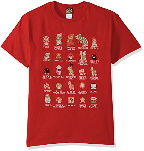 Nintendo Men's Pixel Cast T-Shirt, Red, Large