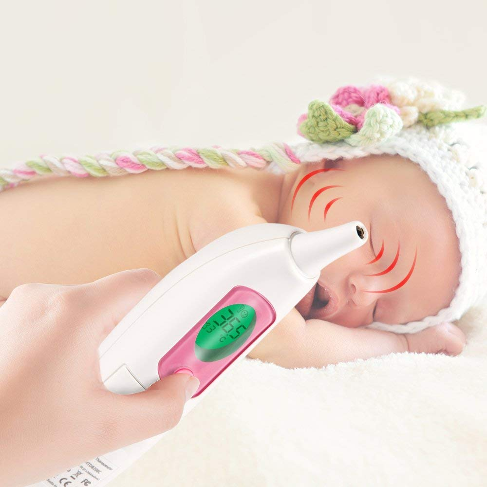 pantalla LCD colorida y alarma sonora dise/ño de cubierta para el o/ído NURSAL Term/ómetro de o/ído infrarrojo profesional para medici/ón instant/ánea term/ómetro digital para beb/és
