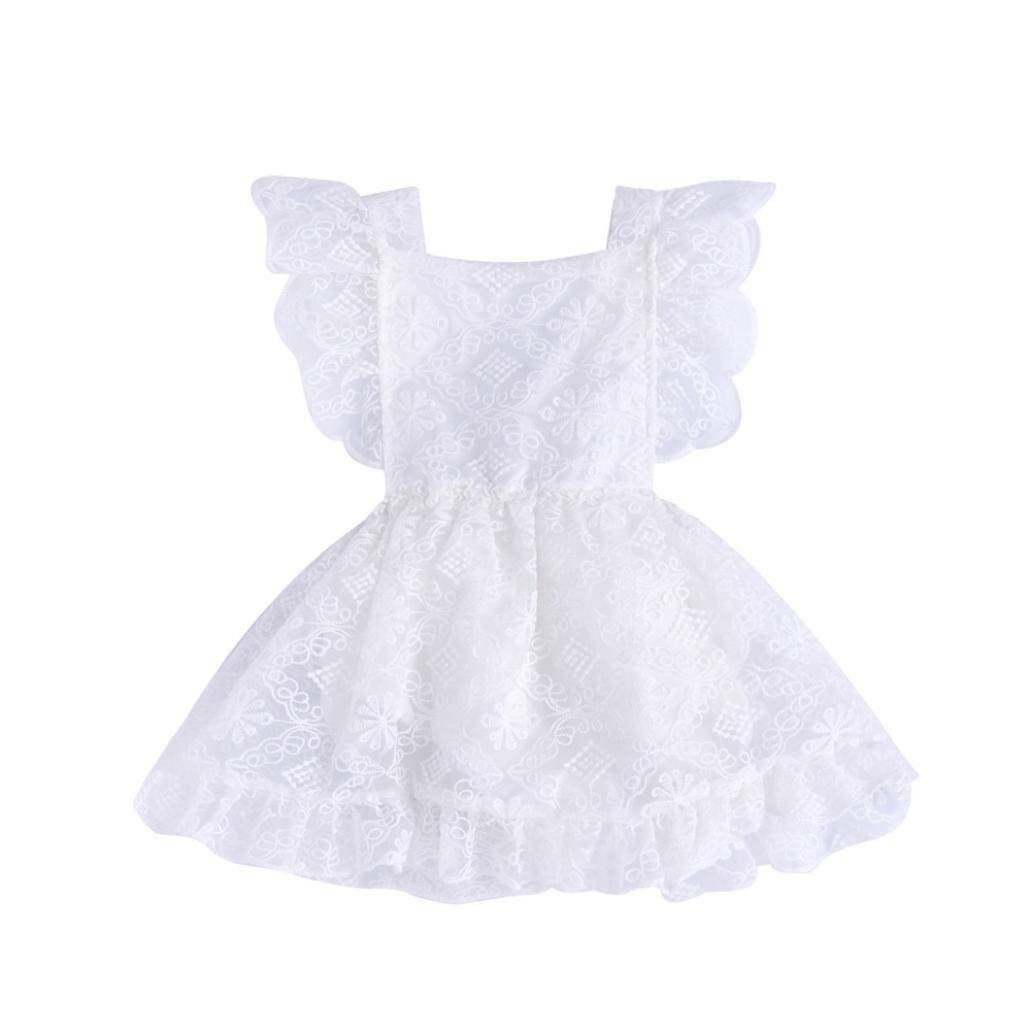 Festwolf Infant Girls Romper Solid Lace Tutu Princess Dress Ruffle Jumpsuit FTA-20