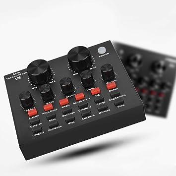Carte Son multifonctionnelle V8 Live avec r/éduction du Bruit Puces DSP Volume Intelligent r/églable Plusieurs Effets sonores Amusants pour t/él/éphone//PC Live Changeur de Voix Professionnel