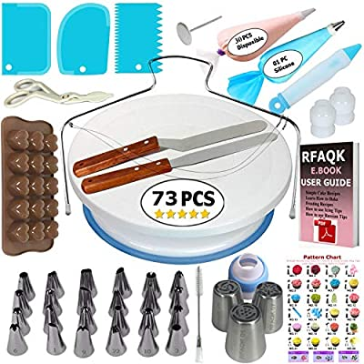 73 pcs Cake Decorating Supplies Kit for Beginners-1 Turntable stand-24 Numbered icing tips with pattern chart and E.Book-1 Cake Leveler-Straight & Angled Spatula-3 Russian Piping nozzles-Baking tools