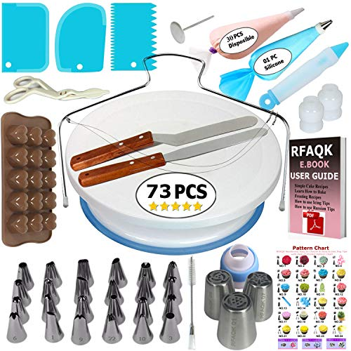 73 pcs Cake Decorating Supplies Kit for Beginners-1 Turntable stand-24 Numbered Easy to use icing tips with pattern chart and E.Book-1 Cake Leveler-Straight and Angled Spatula-3 Russian Piping nozzles -