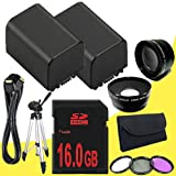TWO BP-819 Lithium Ion Replacement Battery + 16GB SDHC Class 10 Memory Card + 43mm 3 Piece Filter Kit + Wide Angle Lens + 2x Telephoto Lens + Mini HDMI Cable + Full Size Tripod for Canon Vixia HFM40 HFM41 HFM400 HV30 Digital Camcorders DavisMAX BP819 Accessory Bundle