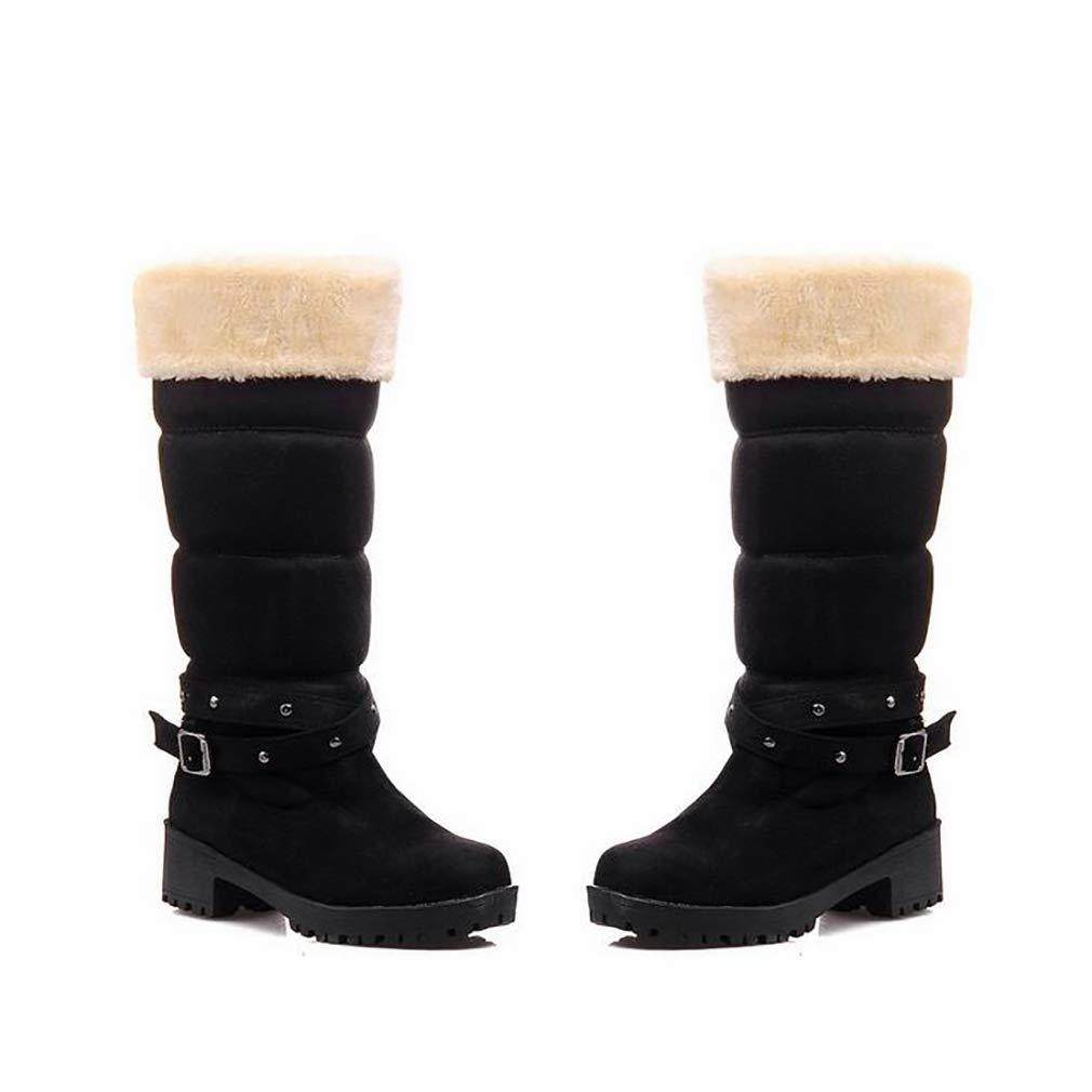 Hy Damenschuhe Suede Herbst/Winter Comfort Cotton Stiefel Schneestiefel Stiefel/Damen Winter New Square Heel Mittelrohr Stiefelies/Stiefeletten Student Warm Skiing Schuhe (Farbe : D, Größe : 34)