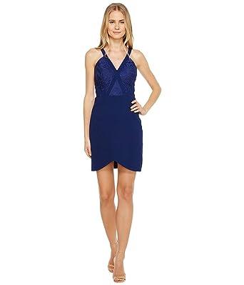 2e9513aa5b355 Aidan Mattox Women s Crepe and Lace Cocktail Dress Navy Dress at Amazon  Women s Clothing store