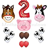 2nd birthday Farm Barn Animal Party Balloons. Cow Donkey And Pig With 12'' 3.2 Helium Quality Latex balloons- Red Brown And Cow Print with the number ''2'' red foil balloon-Total 40 Count.