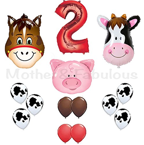 Red Cow Print - 2nd birthday Farm Barn Animal Party Balloons. Cow Donkey And Pig With 12