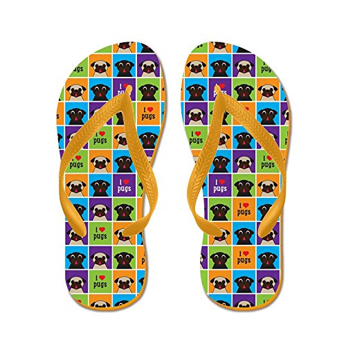 CafePress I Love Pugs Color Squares Portrait - Flip Flops, Funny Thong Sandals, Beach Sandals Orange