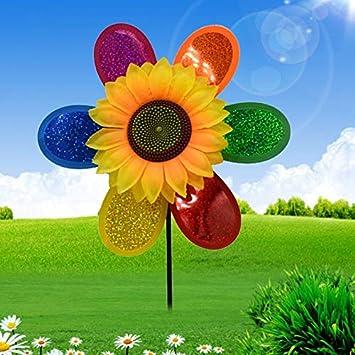 Adorno de jardín – colorido lentejuelas girasol molino de viento molinillo de viento Home Garden Patio Decoración Edificios Adornos – Jardín Patio Adornos Decoraciones: Amazon.es: Bricolaje y herramientas
