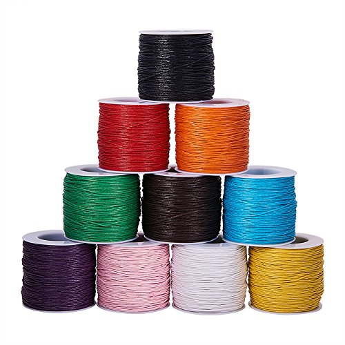 (PandaHall Elite 10 Rolls 1mm Waxed Cotton Cord Thread Beading String 80 Yards per Roll Spool 10 Colors for Jewelry Making and Macrame Supplies)