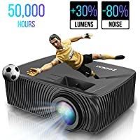 Portable Mini LED Home Theater Projectors, ZOOKKI Multimedia Video Projector +30% Lumens for 360º Display, Support 1080P HDMI USB VGA AV TV Laptop Games(iPhone Android Smartphones)