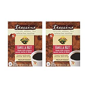Teeccino - Vanilla Nut 75% Organic Herbal Coffee Medium Roast Caffeine Free - 10 Tee Bags (Pack of 2)