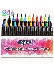 Brush Pen Set infinitoo 24+1 Pinselstifte Set für bildschöne Aquarell Effekte, Bullet Journal, Kalligraphie, Hand Lettering, Art Marker Filzstifte, Zeichnung, Malen - Mit flexibler Echtpinsel-Spitze