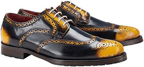 Chaussures En Cuir De Couleur Wellensteyn Donhurst Scharz Jaune Poli