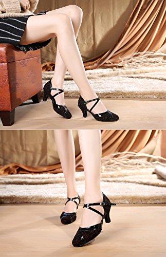 Ankle Flannelette Tango Modern Shoes URVIP LD197 Heels Dance Shoes Pumps Latin Black Women's Buckle Strap Red Cross vw0wgEq