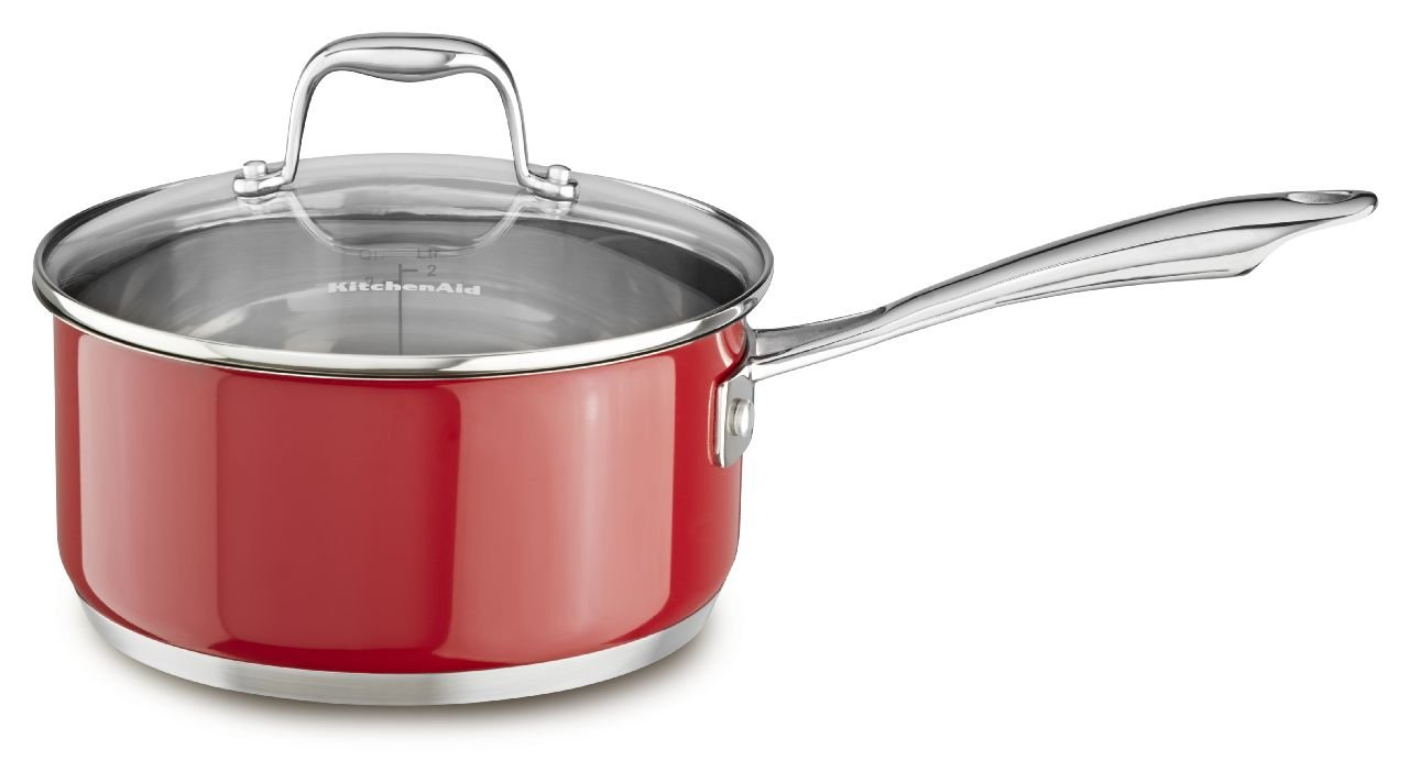 KitchenAid KCS30PLER Stainless Steel 3.0-Quart Saucepan with Lid Cookware - Empire Red