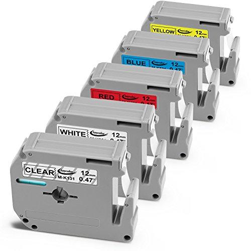 Anycolor 5-Pack M Tape Compatible Brother P-touch Label Tape M131 M231 M431 M531 M631 for Brother P Touch Label Maker PT-90 PT-70BM PT-70 PT-M95 PT-65 PT- 85 PT-45