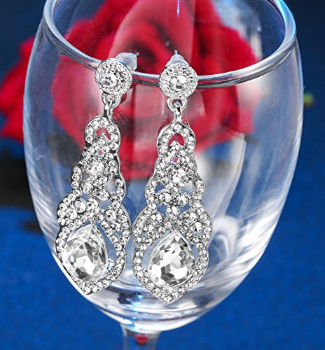 Hanpabum Bridal Wedding Jewelry Set Women Bracelets Dangle Teardrop Earrings Set Women Jewelry Made Clear Crystals (Earings Bracelets) by Hanpabum (Image #3)