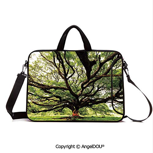 AngelDOU Neoprene Printed Fashion Laptop Bag The Largest Monkey Pod Tree in Thailand Eastern Green Big Branches Growth Eco Ph Notebook Tablet Sleeve Cases Compatible with Lenovo Asus Acer HP Green