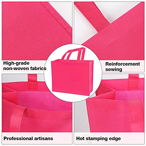 Shindel 12 Pack Party Gift Tote Bags, 13x11 inch Non-Woven Bag Reusable Grocery Bag with Handles, for DIY Party Favors and Birthday Gifts, 12 Colors