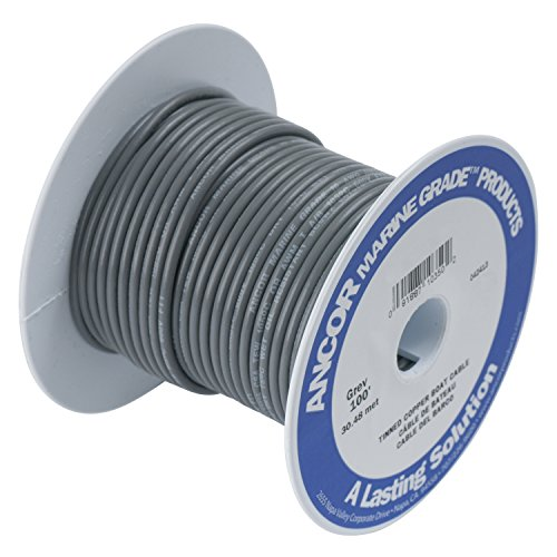Ancor 104410 Marine Grade Electrical Primary Tinned Copper Boat Wiring (14-Gauge, Grey, 100-Feet)