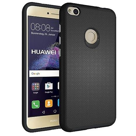 i-comercio Funda Huawei P8 / P9 Lite 2017 Carcasa Antideslizante Porosa Hybrid Rugged Armor Huawei P8 / P9 Lite 2017 (Negro)