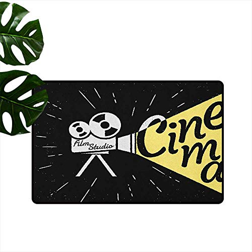 Movie Theater,Home Decor Floor mats Movie Projector Sketch with Grunge Cinema Lettering on Black Backdrop 18