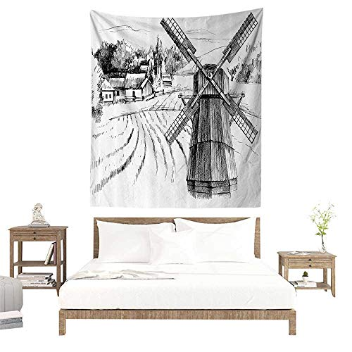 Wall Tapestries Hippie,Landscape,Hand Drawn Rural Scenery Small Town Farm Houses Forest and Mill Romantic Sketch,Black White W40 x L60 inch Tapestry Wallpaper Home Decor