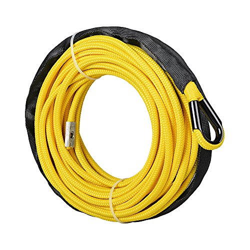 1/4 x 50' Synthetic Winch Line Cable Rope 7000+ LBs w/39' Rock Guard Sheath ATV UTV SUV Off-Road Ramsey (w/Rope Only, Yellow)