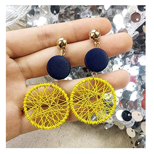 New Exaggerated Big Circle Earrings Personality Wild Circle Ring Pendant Earrings,yellow