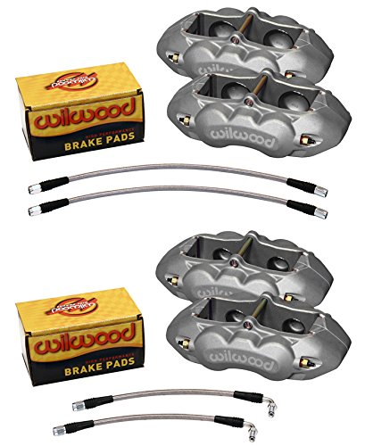 4 Piston Rear Brake Caliper - WILWOOD CLEAR ANODIZED BRAKE CALIPER, PAD, & LINE KIT, 4 PISTON FRONT & REAR, 65 - 82 CHEVY CORVETTE C2, C3, CHEVROLET, WILWOOD, PART# 140-10789 and 140-10790