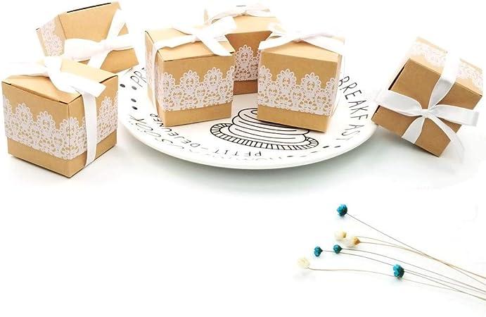 50 x cordón Papel Kraft Fiesta Cajas Favor Caja de Regalo para los favores, Dulces Papel picado, pequeños Regalos y Joyas para la Boda cumpleaños Fiesta de Bienvenida bebé Sagrada comunión Nav: