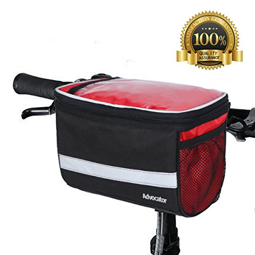 Rack Cooler Rear (Advocator Bicycle Front Bags, Bike Handlebar Bag with Sliver Grey Reflective Stripe Outdoor Activity Cycling Basket Frame Pack Accessories Touchscreen Operation Transparent PVC Pouch)
