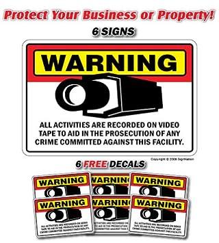 Cámara de seguridad ~ 6 señales y 6 adhesivos de libre ...
