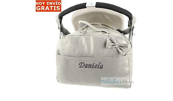 mibebestore - Bolso Polipiel Carrito Bebe Personalizado con nombre bordado GRIS - Nombre bebé bordado: Amazon.es: Bebé