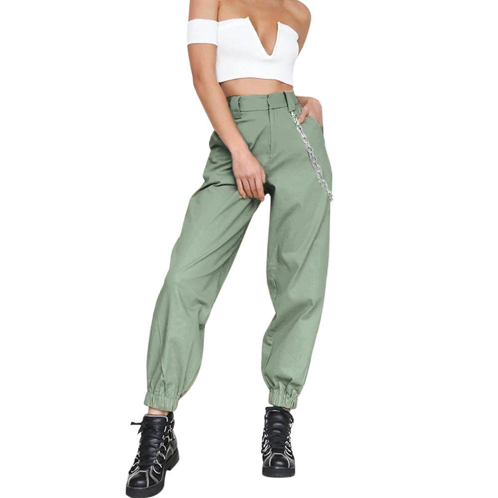 Vovotrade para Mujer Harem Holgado Hip Hop Dance Jogging Sweat Pants Slacks Pantalones,Mujeres Deportes Gym Pantalones de Entrenamiento Pantalones de Fitness Gimnasio de Correr Pantalones (Green, M)
