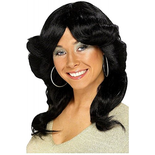 Wavy and Layered Black 70's Wig