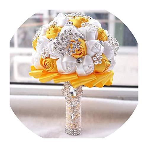 Crystal Brooch Bouquet Wedding de Mariage Bridal Bouquets Pearl Flowers Buque de Noiva Bridesmaid Artificial Flower Bouquet,White and Orange -