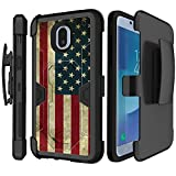 MINITURTLE Phone Case Compatible with Samsung Galaxy J3 (2018)/Express Prime 3/Galaxy J3 Eclipse 2 [MAX DEFENSE Case Series][Black Silicone + Kickstand Shell + Holster] - American Flag