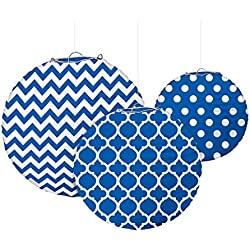 Royal Blue Printed Paper Lanterns (3ct)