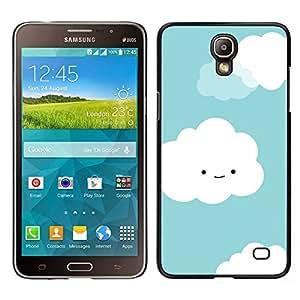 Nubes blanco lindo sonriente de la cara del dibujo- Metal de aluminio y de plástico duro Caja del teléfono - Negro - Samsung Galaxy Mega 2
