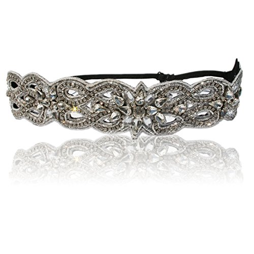 Hand Made Wedding Bridal Crystal Headband with Adjustable Strap. Style Guide Included.