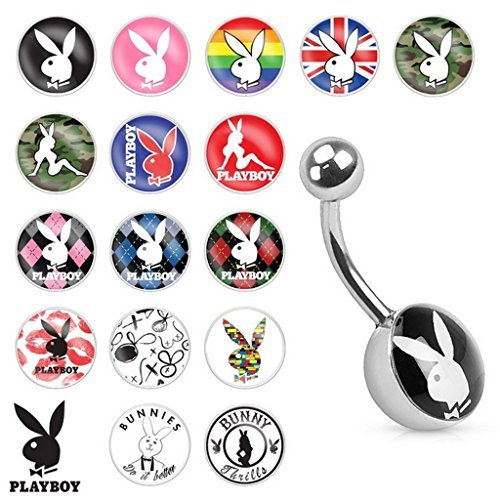 Rainbow Official Licensed Playboy Bunny Print Inlay Belly Bar Piercing Thickness : 1.6mm Length : 10mm Material : Surgical Steel ()